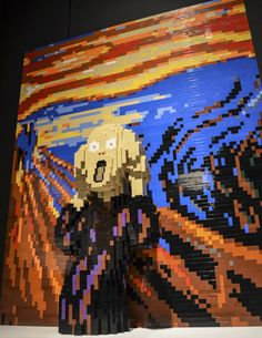Recreation of Edvard Munch's The Scream by renowned LEGO Artist  Nathan Sawaya - Each piece is built from LEGO blocks using only the official colours released. - http://enpundit.com/several-famous-artworks-recreated-with-lego/