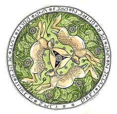 Ancient Three Hares Motif. The text is a German riddle: three hares and three ears, and yet every one has two of them