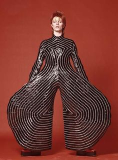 "David Bowie in Kansai Yamamoto's ""Rites of Spring"" Part if the David Bowie  Exhibition at the V & A – the clothes through his career show the advances in fashion.  I have a leaflet with details about the exhibition. #1970s #vintage"