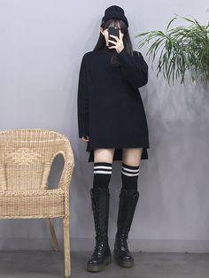 Black boots,long black socks w white stripes,black beanie