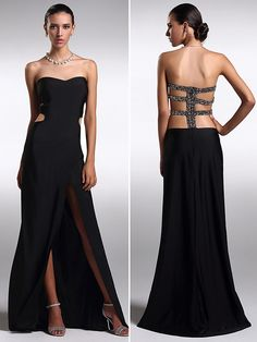 Formal Evening Dress - Black Plus Sizes / Petite Sheath/Column Strapless Floor-length Knit - USD $ 119.59