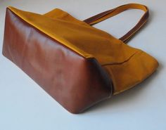 Mustard Canvas Tote Bag Genuine Organic Tanned Leather Handle and Bottom. $69.00, via Etsy.