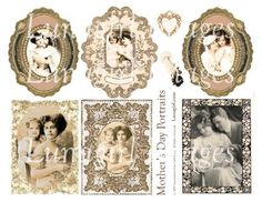 MOTHERS DAY PORTRAITS collage sheet digital download by Lunagirl, $3.95