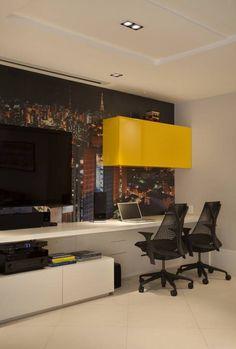Cobertura Duplex Edificio Mandarim - Condomínio Peninsula: Salas multimídia Moderno por Cadore Arquitetura
