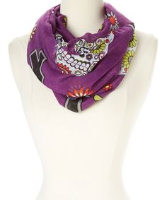 Look at this Purple Sugar Skull Infinity Scarf on #zulily today!