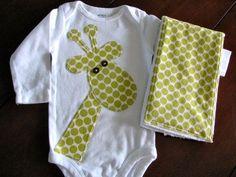Coordinating Giraffe onesie & burp cloth. CUTE