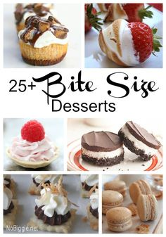 25 Bite Size Desserts -- Why is it that bite size food is just so much more fun to eat? It's amazing how the cuteness of its size makes it taste better. These Bite Size Desserts would be a great finish to any party, or. Mini Desserts, Small Desserts, Bite Size Desserts, Just Desserts, Delicious Desserts, Yummy Food, Mini Dessert Recipes, Mini Dessert Shooters, Tea Party Desserts