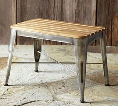 Teagan Teak Stool #potterybarn (slate floors, but that may be a little too rustic)