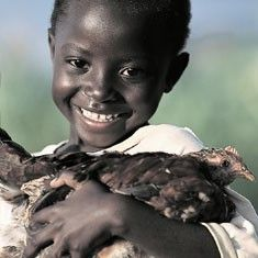 """Give a flock of chicks (or other animals) to a needy village around the world thru Heifer International."""