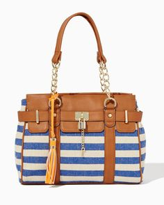 charming charlie | Sail Away Striped Tote | UPC: 410007229500 #charmingcharlie