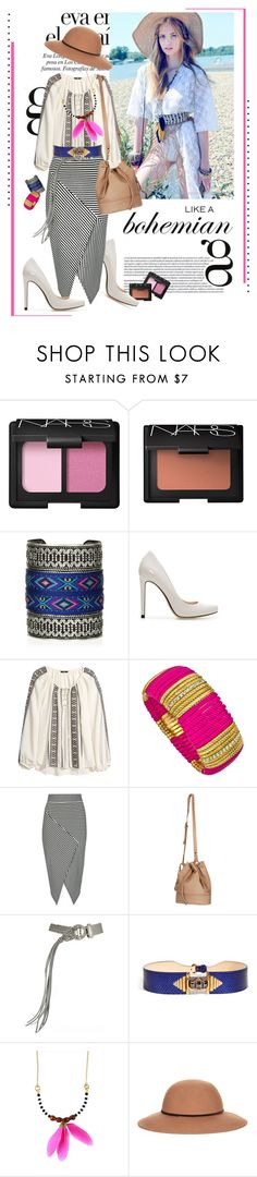 """""""How To: Spring Palette - Classy Boho Chic"""" by pocaqooka ❤ liked on Polyvore featuring Edition, NARS Cosmetics, Zara, H&M, Blu Bijoux, Jane Norman, Joie, Donna Karan, Emilio Pucci and Feather and Skull"""