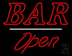 Bar Open White Line Neon Sign 24 Tall x 31 Wide x 3 Deep, is 100% Handcrafted with Real Glass Tube Neon Sign. !!! Made in USA !!!  Colors on the sign are Red and White. Bar Open White Line Neon Sign is high impact, eye catching, real glass tube neon sign. This characteristic glow can attract customers like nothing else, virtually burning your identity into the minds of potential and future customers.