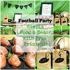 DIY Football Party Ideas with easy to make food and decor. Plus free Football Printable. Great for your next Football Theme Party. www.thisolemom.com