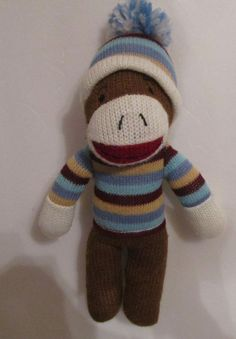 """Dan Dee Sock Monkey Blue Striped Sweater Cap Pom Pom 10"""" Plush Stuffed Toy  #DanDee"""