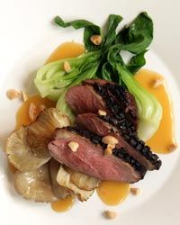 Duck with Miso-Almond Butter Recipe from Food & Wine - Stephanie Izard, one of my favorite chefs.