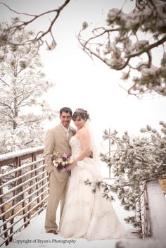 A winter wedding in the mountains.  Photo by Bryan's Photography