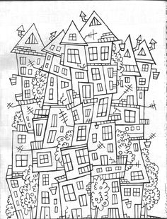 abstract house coloring page - Drawing Pictures For Colouring