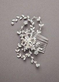 Crystal Embellished Floral Hair Comb - Davids Bridal