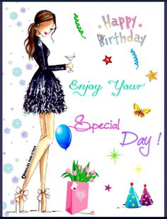 Birthday Ecards for Females - Geburtstag Birthday Greetings Friend, Happy Birthday Ecard, Happy Birthday Wishes Cake, Birthday Wishes Messages, Birthday Wishes And Images, Happy Birthday Girls, Happy Birthday Pictures, Birthday Love, Happy Birthday Female