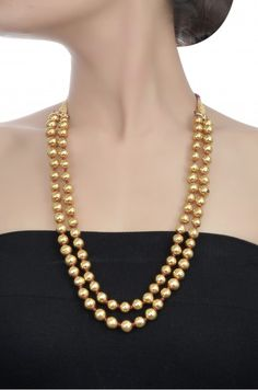 Silver Gold Plated Two Layer Round Bead Necklace