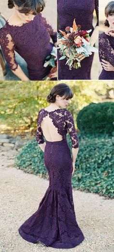 Gorgeous Bridesmaid Dresses,Half Sleeves Bridesmaid Dress,Mermaid Bridesmaid Dresses,Long Bridesmaid Dresses,Purple Bridesmaid Dresses,Lace Bridesmaid Dress