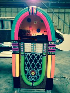 Jukebox made with box and pool noodles.