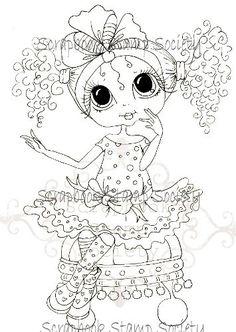 INSTANT DOWNLOAD Digital Digi Stamps Big Eye Big Head Dolls Digi  Curley Sue By Sherri Baldy