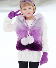 Another great find on #zulily! Purple Pom-Pom Hooded Vest - Toddler & Girls #zulilyfinds