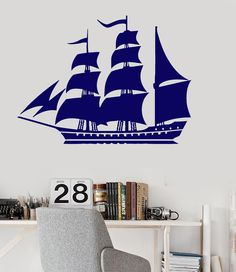 Vinyl Wall Decal Ship Yacht Nautical Marine Ocean Kids Room Stickers (ig2938)