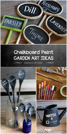 Chalkboard paint has all sorts of creative uses in the garden including plant markers and tags signs labels and more. Chalkboard marking pens give it even more possibilities. Garden Crafts, Garden Art, Diy Crafts, Garden Ideas, Garden Oasis, Garden Club, Garden Planters, Chalkboard Markers, Chalkboard Paint