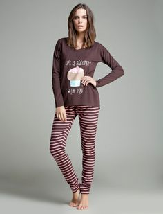 women'secret | Products | Long cotton pyjama with cupcakes print