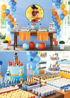 La decoración de tu casa o salón de fiestas, pues con poco presupuesto e ideas muy originales puedes hacerlo en grande: dragon-ball-fiesta-mesa