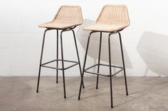 Pair+of+Charlotte+Perriand+Style+Wicker+Bar+Stools