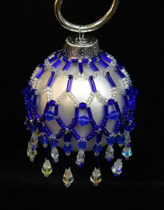 """PATTERN ONLY Beaded Christmas Ornament Cover Holiday Original """" Cobalt Magic"""" FREE Shipping"""