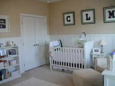 Coopers Nursery,  nursery filled with white furniture, board and batten walls, elephants, navy and green accents and LOVE :), Crib and closet , Nurseries Design