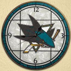 MAN CAVE: Amazon.com: Sports Team Nhl Art Glass Clock, NHL TEAMS, SAN JOSE SHARKS: Home & Kitchen