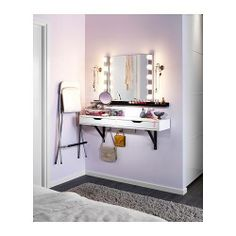 Ikea Ekby Alex shelf with mirror and lighting. Perfect makeup station for my teenage daughter's bedroom!