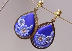 Blue Flower dangle, drop earrings, polymer clay posts studs,embroidered Forget-me-not,statement eco friendly jewellry, vermeil gold filigree