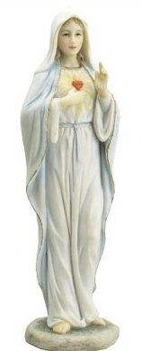 Sacred Heart of Mary Statue Inspired by the Italian renaissance artist Palo Veronese Renaissance Artists, Italian Renaissance, Virgin Mary Statue, Our Lady Of Lourdes, Sacred Heart, Hand Painted, Statues, Resin, History
