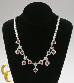 18k White Gold Multi-Color Heart-Shaped Sapphire & Diamond Necklace TCW = 10.81 #Unbranded #Cluster