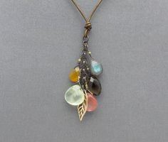 gemstone necklace briolette necklace boho by SharonClancyDesigns, $62.00