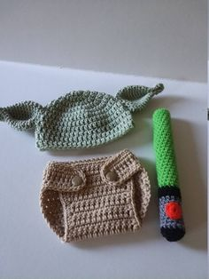 201fb9da6 Crochet Baby Yoda Star Wars Set Hat Beanie Diaper Cover Robe Shirt ...