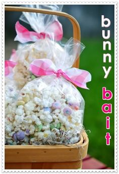 Bunny Bait...popcorn, white candy melts, spring m's and confetti sprinkles.  Change m's and sprinkles for other holidays.