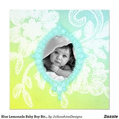 Find customizable Baby invitations & announcements of all sizes. Pick your favorite invitation design from our amazing selection. Baby Boy Birth Announcement, Baby Shower Invitations, Invites, Baby Cards, Beautiful Babies, Baby Photos, Lemonade, Baby Shower Gifts, Creative