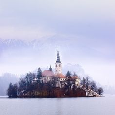 castl, islands, place, lake bled