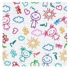 hand drawn kid pattern Vector Pattern, Free Pattern, Watercolor Card, Motif Vintage, Creative Activities For Kids, Kids Patterns, Stick Figures, Kids Songs, Printable Paper