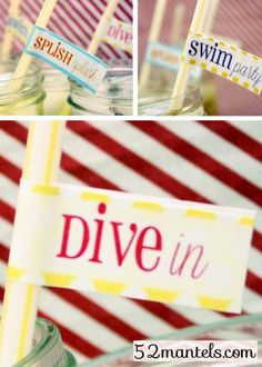 A complete set of Swim Party printables, free to download #party #printables Party Labels, Party Printables, Free Printables, Printable Labels, Adult Birthday Party, 2nd Birthday, Birthday Ideas, Deco Retro, Water Party