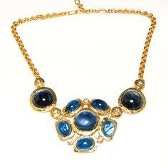 Vintage Signed KJL Swirled Blue Art Glass an Rhinestone Gripoix Style Statement Necklace Brushed Hammered Gold Finish