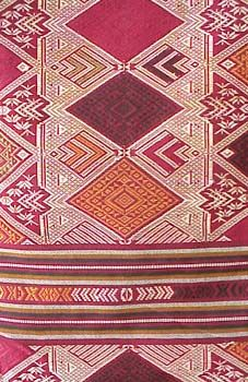 Laotian Embroidered Silk and Cotton Textile Laotian women weave these beautiful textiles on looms out of silk on a base of cotton, where it ...