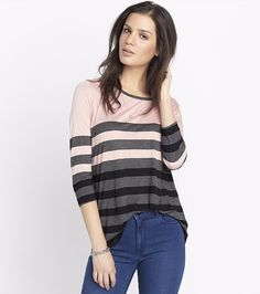 This striped tunic tee is super comfy and looks hot paired with jeans and a blazer.